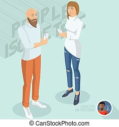 Trendy young man and woman with smartphones.