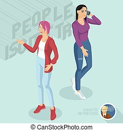 Two casual style ladies wearing jeans.