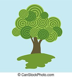 Lollypop tree vector icon template isolated on , blue...