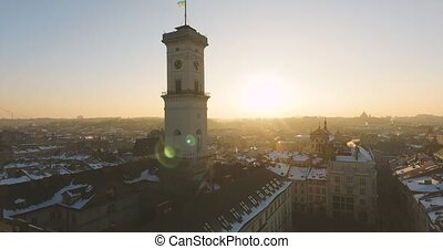 Winter Magic City at sunset - Town hall Old Winter City...