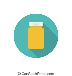 Pill bottle for capsules. - Pill bottle isolated icon on...
