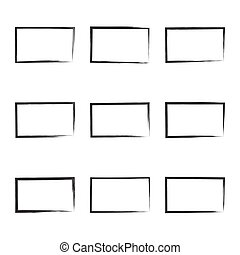 Set hand drawn square. - Set hand drawn rectangle, photo,...