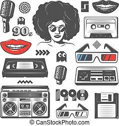 Vintage 90s Style Elements Set - Vintage 90s style elements...