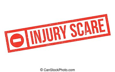 Injury Scare rubber stamp. Grunge design with dust...