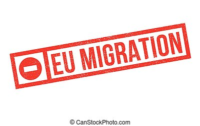 Eu Migration rubber stamp. Grunge design with dust...