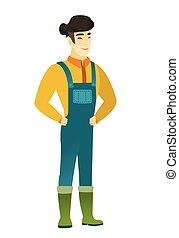 Young asian farmer in coveralls laughing. Farmer laughing...