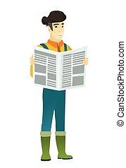 Farmer reading newspaper vector illustration - Asian farmer...
