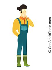Asian farmer thinking vector illustration - Young asian...