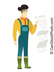 Farmer in coveralls giving presentation. - Smiling asian...