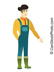 Asian farmer with hand in his pocket. - Smiling asian farmer...