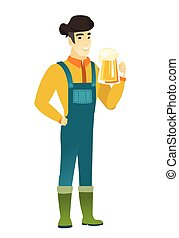 Farmer drinking beer vector illustration.