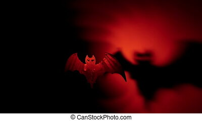 Halloween bat with terrible shadow - Flying bat with...