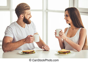 Couple having a breakfast