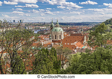 View from the old royal palace in Prague on the city and the...