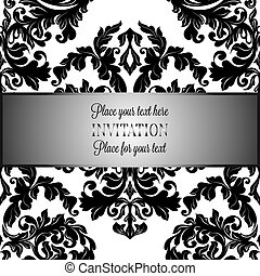 Baroque background with antique, luxury black and white vintage frame, victorian banner, damask floral wallpaper ornaments, invitation card, baroque style booklet, fashion pattern, template for design