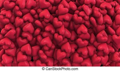 Background of a variety of red hearts
