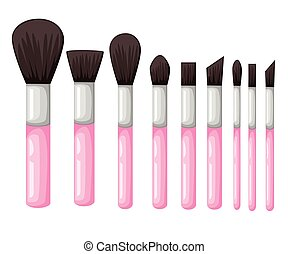 Vector set from makeup brushes different forms