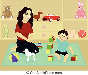 Mother play with baby in room
