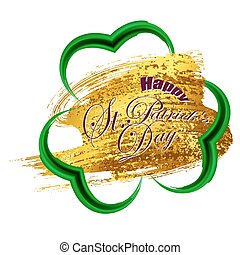 Happy St. Patricks day gold frame of trefoil in grunge...