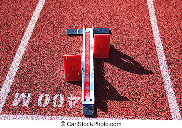 Set of starting blocks at the 400 meter start