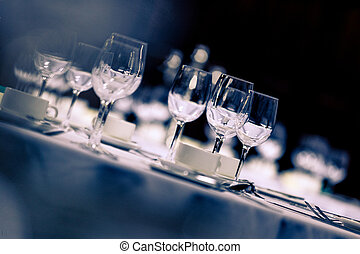 Wine glasses on a reception table