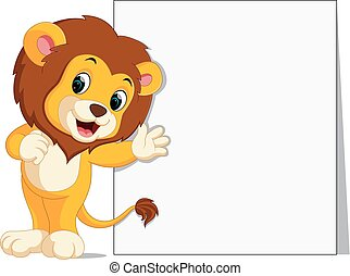 cute lion with blank sign
