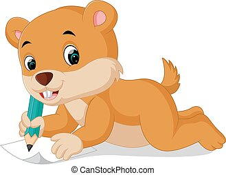 cartoon chipmunk holding pencil - illustration of cartoon...