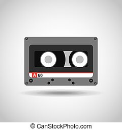 music casette icon over white background. colorful design....