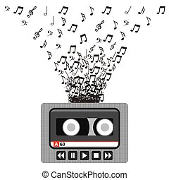 music casette icon - music casette with musical notes over...