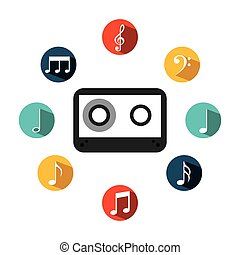 music casette icon - cassette with music icons around over...