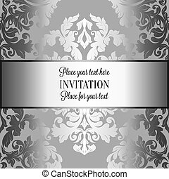 Baroque background with antique, luxury gray and metal silver vintage frame, victorian banner, damask floral wallpaper ornaments, invitation card, baroque style booklet, fashion pattern