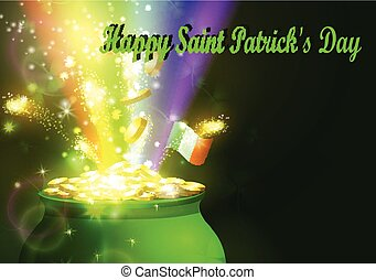 St. Patrick s Day symbol green pot full of gold coins and...