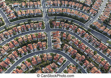 California Suburban Neighborhood Aerial - Aerial view of...