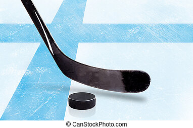 Hockey Stick and Puck With Finland Flag on Ice - Finland...