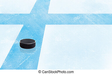Hockey Puck and Finland Flag on Ice With Copy Space -...