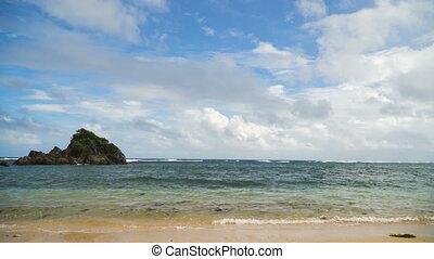 Tropical beach, blue sky, clouds. Catanduanes, Philippines....
