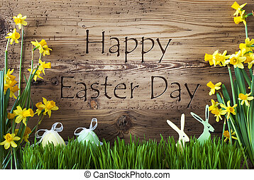 Decoration, Egg And Bunny, Gras, Text Happy Easter Day -...