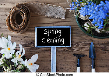 Flowers, Sign, Text Spring Cleaning - Sign With English Text...