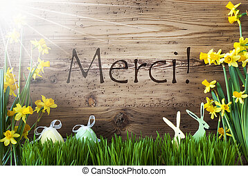 Sunny Easter Decoration, Gras, Merci Means Thank You -...
