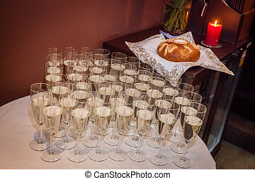 Champagne glasses at weding - Champagne glasses on the table...