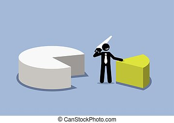 Businessman cutting out a piece of pie chart. - Vector...