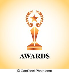 Actors awards design - gold trophy of actors awards concept....