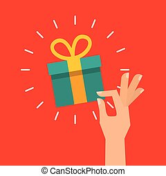 hand with gift box icon