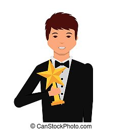 Actors awards design - actor holding a star trophy cartoon...