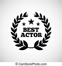 actors awards design - wreath of leaves over white...