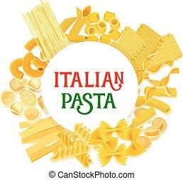 pasta, manifesto, vettore,  spaghetti, italiano