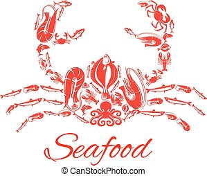Seafood crab or lobster vector poster - Lobster or crab...