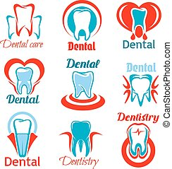 Dentistry and stomatology tooth vector icons set - Dentistry...