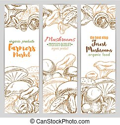 Mushrooms vector sketch farmer market banners set -...