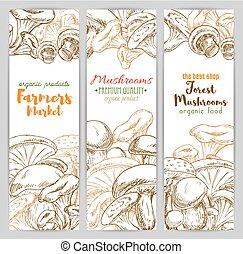 Mushrooms vector sketch farmer market banners set -...